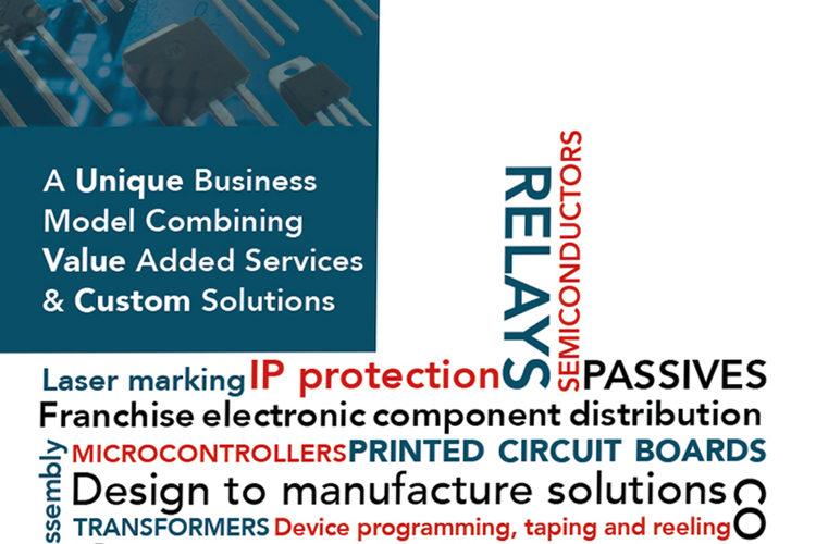 brochure back cover, electronics distributor